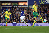 Ramiro Funes Mori of Everton shoots at goal but sees his effort go wide of goal. EFL Cup, 3rd round match, Everton v Norwich city at Goodison Park in Liverpool, Merseyside on Tuesday 20th September 2016.<br /> pic by Chris Stading, Andrew Orchard sports photography.