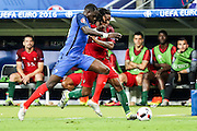 Renato Sanches and Sissoko fighting for the ball during the match against that opposed France and Portugal. Portugal won the Euro Cup beating in the final home team France at Saint Denis stadium in Paris, after winning on extra-time by 1-0.