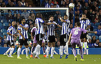 Reading's Oliver Norwood guides his sides first half free-kick high over the Sheffield Wednesday goal<br /> <br /> Photographer Rich Linley/CameraSport<br /> <br /> Football - The Football League Sky Bet Championship - Sheffield Wednesday v Reading - Wednesday 19th August 2015 - Hillsborough - Sheffield<br /> <br /> © CameraSport - 43 Linden Ave. Countesthorpe. Leicester. England. LE8 5PG - Tel: +44 (0) 116 277 4147 - admin@camerasport.com - www.camerasport.com