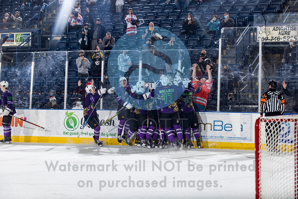 The Youngstown Phantoms defeat the Muskegon Lumberjacks 4-3 in overtime at the Covelli Centre on April 17, 2021.<br /> <br /> Winter Wallace, forward, 77; Will Hillman, forward, 17