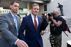 © Licensed to London News Pictures. 01/09/2019. London, UK. Shadow Secretary of State for Exiting the European Union Sir Keir Starmer departs the BBC. He departs after  appearing on the Andrew Marr Show. Photo credit: George Cracknell Wright/LNP