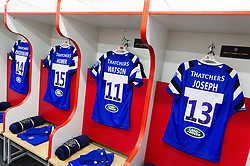 A general view of Bath Rugby jerseys hung up in the away changing rooms prior to the match - Mandatory byline: Patrick Khachfe/JMP - 07966 386802 - 04/01/2020 - RUGBY UNION - Kingsholm Stadium - Gloucester, England - Gloucester Rugby v Bath Rugby - Gallagher Premiership