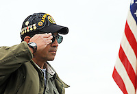 Ray Bisares of Salinas salutes during the annual Avenue of Flags Memorial Day Program at Garden of Memories Memorial Park in Salinas.