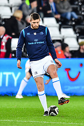 Leinster's Ross Byrne during the pre match warm up<br /> <br /> Photographer Craig Thomas/Replay Images<br /> <br /> Guinness PRO14 Round 18 - Ospreys v Leinster - Saturday 24th March 2018 - Liberty Stadium - Swansea<br /> <br /> World Copyright © Replay Images . All rights reserved. info@replayimages.co.uk - http://replayimages.co.uk