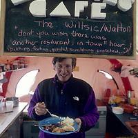 ANTARCTICA.  Gordon Wiltsie in camp kitchen at Patriot Hills expedition base.