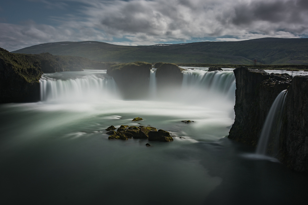 A 55-second exposure of Goðafoss, Iceland