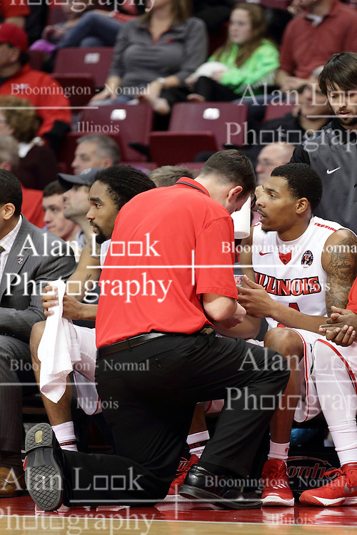 22 December 2015: John Munn fixes Deontae Hawkins(23). Illinois State Redbirds host the Tennessee State Tigers at Redbird Arena in Normal Illinois (Photo by Alan Look)