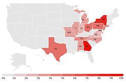 May 23, 2019 - Miami, FL, USA - Top de los 15 estados que más visitan Florida. Georgia es el estado que más visitó Florida con el 9.6% en el 2017, según datos de VisitFlorida. (Credit Image: © TNS via ZUMA Wire)
