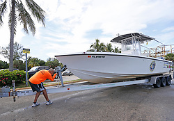 Miguel Agurre pulls out his boat from the Haulover Marine Center on Wednesday, September 6, 2017 in Miami Beach, FL, USA. as they prepare for Hurricane Irma. Photo by David Santiago/Miami Herald/TNS/ABACAPRESS.COM