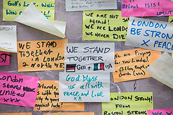 © Licensed to London News Pictures. 08/06/2017. London, UK. Messages are left on a wall at London Bridge where eight people lost their lives in a terrorist attack on the evening of Saturday 3 June 2017. Photo credit: Rob Pinney/LNP
