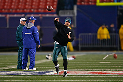 Philadelphia Eagles quarterback Kevin Kolb #4 warms up before the NFL game between the Philadelphia Eagles and the New York Giants on December 13th 2009. The Eagles won 45-38 at Giants Stadium in East Rutherford, New Jersey. (Photo By Brian Garfinkel)