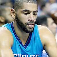 01 November 2015: Charlotte Hornets forward Nicolas Batum (5) is seen on the bench during the Atlanta Hawks 94-92 victory over the Charlotte Hornets, at the Time Warner Cable Arena, in Charlotte, North Carolina, USA.