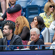 2019 US Open Tennis Tournament- Day Thirteen.    Meghan Markle, Duchess of Sussex watching Serena Williams of the United States in action against Bianca Andreescu of Canada in her team box which includes husband Alexis Ohanian, mother Oracene Price, coach Patrick Mouratoglou, publicist Jill Smoller, sisters Isha Price and Venus Williams and Anna Wintour, editor of Vogue during the Women's Singles Final on Arthur Ashe Stadium during the 2019 US Open Tennis Tournament at the USTA Billie Jean King National Tennis Center on September 7th, 2019 in Flushing, Queens, New York City.  (Photo by Tim Clayton/Corbis via Getty Images)