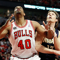 16 April 2011: Chicago Bulls center Kurt Thomas (40) vies for the rebound with Indiana Pacers small forward Mike Dunleavy (17) during the Chicago Bulls 104-99 victory over the Indiana Pacers, during the game 1 of the Eastern Conference first round at the United Center, Chicago, Illinois, USA.