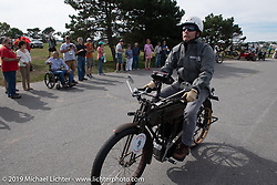 Chris Tribbey takes off from the start on his 1911 Excelsior model-K single cylinder class-1 bike in the Motorcycle Cannonball coast to coast vintage run. Portland, ME. Friday September 7, 2018. Photography ©2018 Michael Lichter.