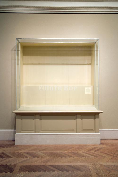 empty display case in museum