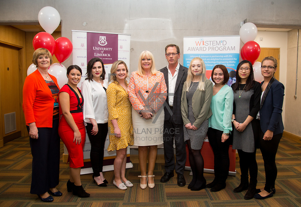 13.09.17.            <br /> Global healthcare company, Johnson & Johnson (J&J) and University of Limerick (UL) have begun Year 2 their collaborative STEM education programme known as WiSTEM2D. The programme is designed to encourage female students to study science, technology, engineering and mathematics. Pictured at a university event to highlight student research findings from Year 1 of the programme were, Prof Ita Richardson, UL, Jessica Silva, Niamh Sheahan, Siobhan Phelan, Minister for Higher Education at the Department of Education, Mary Mitchell-O'Connor TD, Prof. Edmund Magnier, UL, Janice O'Gorman, Kristine Surat, Easa Man and Marie Salova. Picture: Alan Place