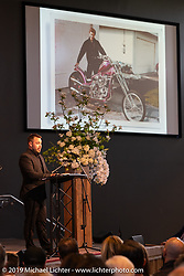 Arlen's oldest grandson Zach spoke before the large crowd at the Arlen Ness Memorial - Celebration of Life at the CrossWinds Church, Livermore, CA, USA. Saturday, April 27, 2019. Photography ©2019 Michael Lichter.