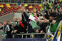 ROMANIA, Bucharest :Northern Ireland's try to catch the goalkeeper glove after the Euro 2016 Group F qualifying football match Romania vs Northern Ireland in Bucharest, Romania on November 14, 2014.