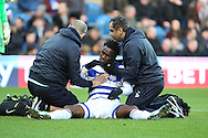 Queens Park Rangers forward Idrissa Sylla (40) injured during the EFL Sky Bet Championship match between Queens Park Rangers and Ipswich Town at the Loftus Road Stadium, London, England on 2 January 2017. Photo by Matthew Redman.