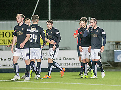 Falkirk's Luke Leahy celebrates after scoring their fifth goal. <br /> Falkirk 5 v 0 Alloa Athletic, Scottish Championship game played at The Falkirk Stadium. © Ross Schofield