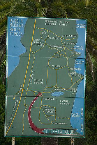 South America, Uruguay, Rocha, Parque Nacional Santa Teresa, map of the National Park of Santa Teresa