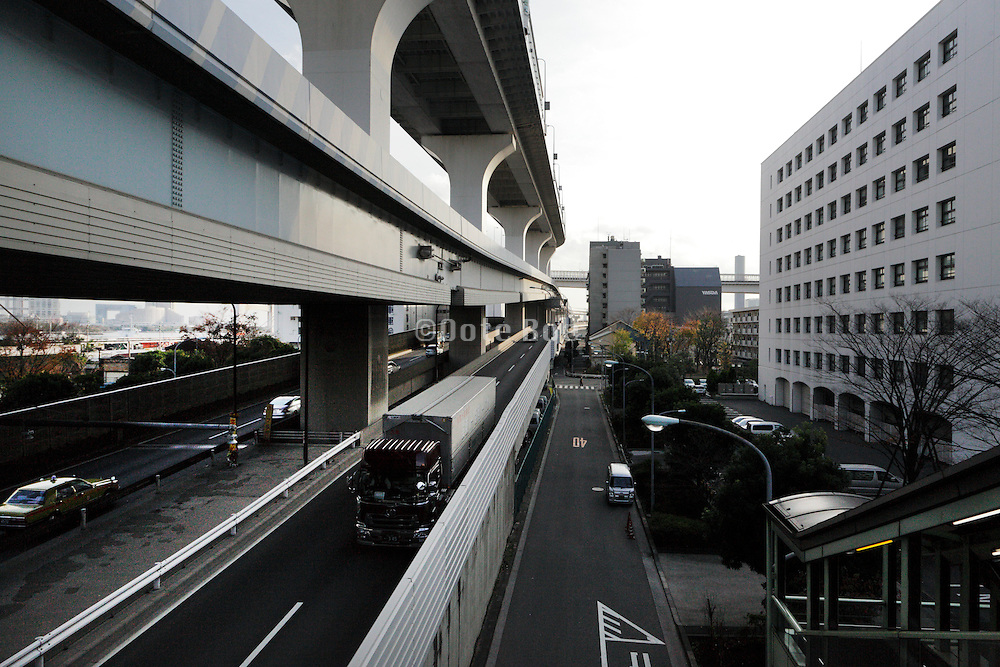 various levels of highway leading to the Rainbow Bridge Odaiba Tokyo Japan