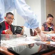 Learn Serve International students prepare their presentations at Maret School, Washington, D.C. For LearnServe International