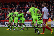 Forest Green Rovers Reece Brown(10) scores a goal from a free kick to make it 1-1 Forest Green Players Celebrate during the EFL Sky Bet League 2 match between Stevenage and Forest Green Rovers at the Lamex Stadium, Stevenage, England on 21 October 2017. Photo by Adam Rivers.