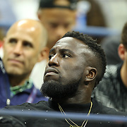 2017 U.S. Open Tennis Tournament - DAY ELEVEN. Soccer player Jozy Altidore, (center), partner of Sloane Stephens of the United States during her match with Venus Williams of the United States in the Women's Singles Semifinals match at the US Open Tennis Tournament at the USTA Billie Jean King National Tennis Center on September 07, 2017 in Flushing, Queens, New York City.  (Photo by Tim Clayton/Corbis via Getty Images)