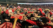 Wisconsin fans celebrate with the Paul Bunyan Football Trophy after Wisconsin beat Minnesota 34-24 in an NCAA college football game. (AP Photo/Andy Manis)
