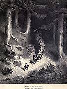 "And here and there along the track dropping a pebble to guide him back."" Illustration from 'Hop O' My Thumb' by Paul Gustave Dore. Hop-o'-My-Thumb (Hop-on-My-Thumb), or Hop o' My Thumb, also known as Little Thumbling, Little Thumb, or Little Poucet is one of the eight fairytales published by Charles Perrault in Histoires ou Contes du temps passé (1697), Where the small boy defeats the ogre. Illustration by Gustave Dore from the book Fairy realm. A collection of the favourite old tales. Illustrated by the pencil of Gustave Dore by Tom Hood, (1835-1874); Gustave Doré, (1832-1883) Published in London by Ward, Lock and Tyler in 1866"