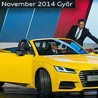 Viktor Orban (L) prime minister of Hungary gets into the first Audi TT Roadster next to Rupert Stadler (R) Chairman of the Board of Audi Management after it was introduced during the official production launch event in the Audi factory in Gyor (about 120 km West of Budapest), Hungary on November 05, 2014. ATTILA VOLGYI