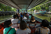 Khlong Saen Saep canal is a convenient artery running through Bangkok, and a lifesaver for commuters that would otherwise be stuck in endless traffic jams.  The canal is connected to many other tiny canals within a large network.  Besides its role providing transport through the city, during the rainy season when Bangkok regularly floods, these canals are extremely important to allow the runoff to go into the main river and finally into the sea.  The Khlong Saen Saep Express Boat service operates fast and cheap transportation through Bangkok.  The service carries about 60,000 passengers per dat and is operated by the Family Transport Company.