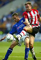 Photo Aidan Ellis.<br />Leicester City v Southampton (FA Barclaycard Premiership) 16/08/2003.<br />Leicester's Paul Dickov and Southampton's Graeme Le Saux