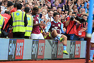 Jack Grealish of Aston Villa (c) celebrates after he  scores his teams 3rd goal . EFL Skybet championship match, Aston Villa v Rotherham Utd at Villa Park in Birmingham, The Midlands on Saturday 13th August 2016.<br /> pic by Andrew Orchard, Andrew Orchard sports photography.
