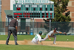 17 April 2016:  Matthew Mardis slides for 2nd base during an NCAA division 3 College Conference of Illinois and Wisconsin (CCIW) Pay in Baseball game during the Conference Championship series between the North Central Cardinals and the Illinois Wesleyan Titans at Jack Horenberger Stadium, Bloomington IL