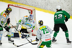 Janez Orehek of SZ Olimpija vs Mathieu Corbeil of Lustenau during Ice Hockey match between HK SZ Olimpija and EHC Alge Elastic Lustenau in Semifinal of Alps Hockey League 2018/19, on April 1, 2019, in Arena Tivoli, Ljubljana, Slovenia. Photo by Vid Ponikvar / Sportida