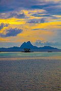 Sunset, Bora Bora from Tahaa, Motu, French Polynesia