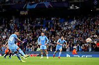 Football - 2021 / 2022 UEFA Champions League - Group A, Round One - Manchester City vs RB Leipzig - Etihad Stadium - Wednesday, 15th September 2021<br /> <br /> Manchester City's Riyad Mahrez scores his side's third goal form the penalty spot to make the score 3-1