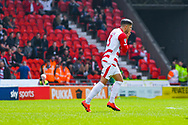 Danny Andrew of Doncaster Rovers (3) reacts to hitting the post during the EFL Sky Bet League 1 play off first leg match between Doncaster Rovers and Charlton Athletic at the Keepmoat Stadium, Doncaster, England on 12 May 2019.