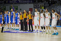 15.04.2015, Palacio de los Deportes stadium, Madrid, ESP, Euroleague Basketball, Real Madrid vs Anadolu Efes Istanbul, Playoffs, im Bild Real Madrid´s players and Anadolu Efes´s players // during the Turkish Airlines Euroleague Basketball 1st final match between Real Madrid vand Anadolu Efes Istanbul t the Palacio de los Deportes stadium in Madrid, Spain on 2015/04/15. EXPA Pictures © 2015, PhotoCredit: EXPA/ Alterphotos/ Luis Fernandez<br /> <br /> *****ATTENTION - OUT of ESP, SUI*****