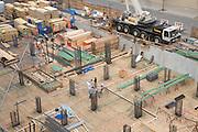 building under construction preparations for pouring concrete on the basement floor