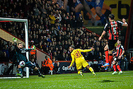 Raheem Sterling heads liverpool in to the lead during the Capital One Cup match between Bournemouth and Liverpool at the Goldsands Stadium, Bournemouth, England on 17 December 2014.