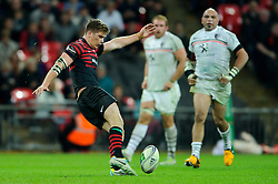Saracens Fly-Half (#10) Owen Farrell strikes a last second drop goal attempt to win the match but misses - Photo mandatory by-line: Rogan Thomson/JMP - Tel: 07966 386802 - 18/10/2013 - SPORT - RUGBY UNION - Wembley Stadium, London - Saracens v Toulouse - Heineken Cup Round 2.