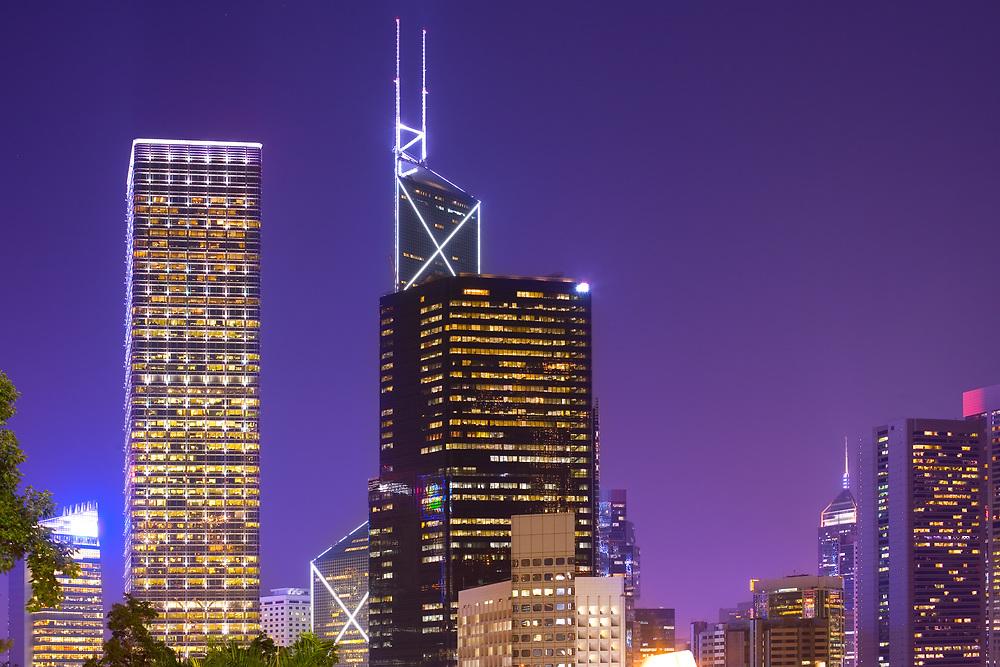 Skyline of office buildings at Chung Wan (central district), Hong Kong Isaland, Hong Kong, China, Asia