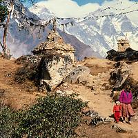 Meredith & Ben Wiltsie trek in front of Mount Everest in the Khumbu region of Nepal 1986.
