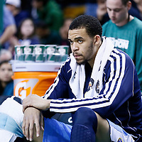 10 February 2013: Denver Nuggets center JaVale McGee (34) is seen on the bench during the Boston Celtics 118-114 3OT victory over the Denver Nuggets at the TD Garden, Boston, Massachusetts, USA.