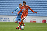 Shrewsbury Town midfielder Alex Gilliead (18) sprints forward with the ball during the EFL Sky Bet League 1 match between Coventry City and Shrewsbury Town at the Ricoh Arena, Coventry, England on 28 April 2019.