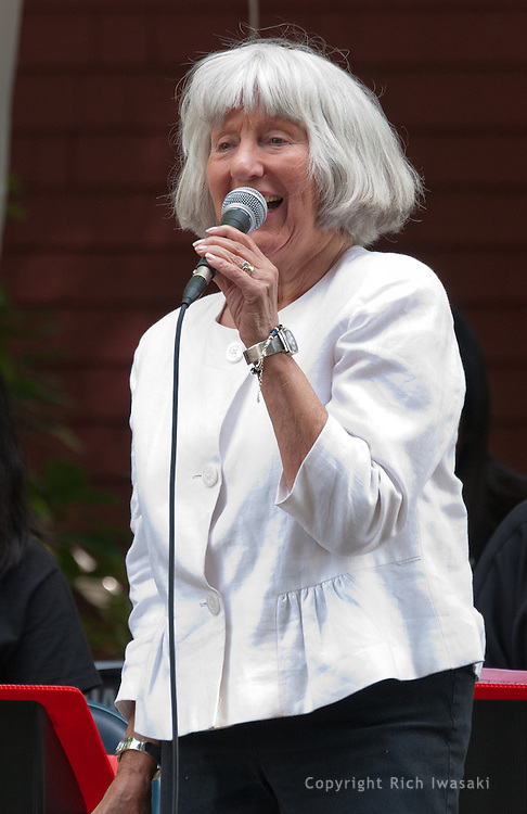 Vocalist Jo Peterson performs with the Minidoka Swing Band on the grounds of Washington Country Museum, Hillsboro, Oregon